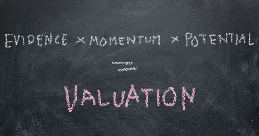 Worth Capital Valuation Equation for seed stage investments on blackboard